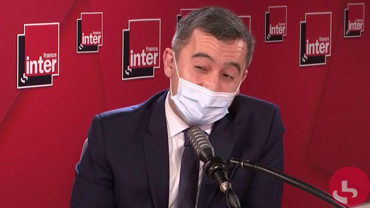 Gérald Darmanin, ministre de l'Intérieur, sur France Inter le 1er février 2021. (FRANCEINTER / RADIOFRANCE)