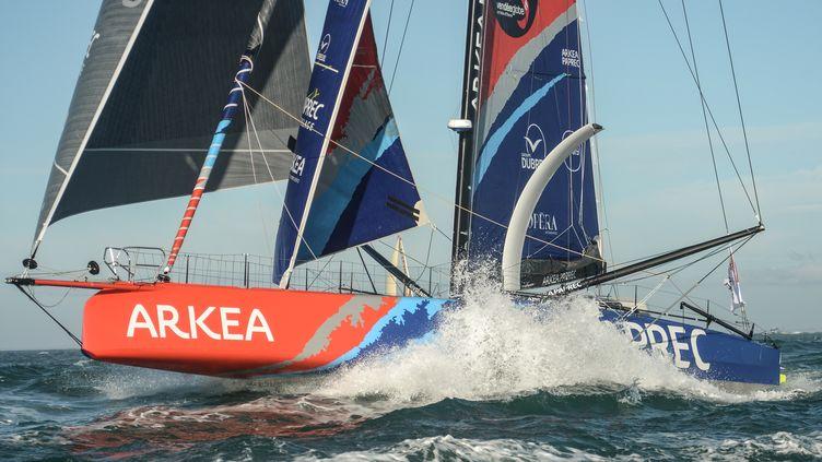 Le navire Arkea-Paprec de Sébastien Simon  (JEAN-FRANCOIS MONIER / AFP)