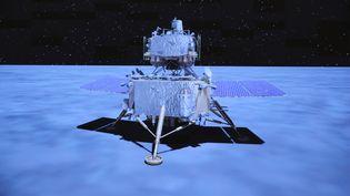 La sonde chinoise Chang'e 5, qui s'est posée sur la lune mardi 1er décembre (image extraite d'une vidéo d'animation du Centre de contrôle et de commandement aérospatial de Pékin). (JIN LIWANG / XINHUA / AFP)