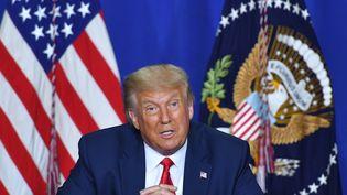 Donald Trump lors d'une table ronde sur la sécurité, au lycée Mary D. Bradford de Kenosha, dans le Wisconsin, le 1er septembre 2020. (MANDEL NGAN / AFP)