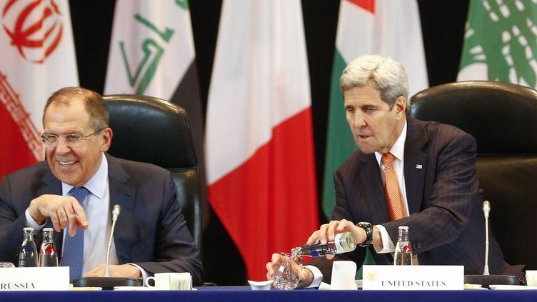 John Kerry et Sergueï Lavrov à Munich lors d'une conférence de presse, le 12 février 2016. (Reuters)