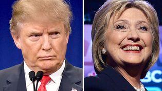 Les deux candidats à la présidentielle américaine, Donald Trump et Hillary Clinton, le 14 janvier et le 4 février 2016. (DSK / AFP)