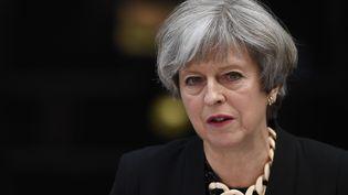 La Première ministre britannique, Theresa May, le 4 juin 2017, lors d'une allocution à Londres (Royaume-Uni) au lendemain d'un attentat. (JUSTIN TALLIS / AFP)