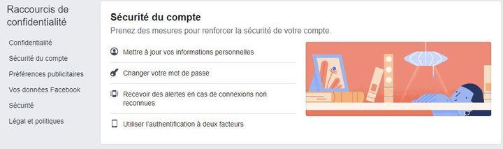 """Le menu """"sécurité du compte"""" de la rubrique """"Confidentialité"""" des paramètres de Facebook. (FACEBOOK)"""