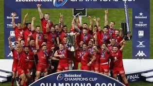 Le Stade Toulousain a remporté la dernière édition de la Champions Cup face à La Rochelle à Twickenham, le 22 mai 2021. (ADRIAN DENNIS / AFP)
