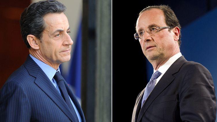 Nicolas Sarkozy (à g.), le président candidat UMP, et François Hollande, candidat du PS à la présidentielle. (FRED DUFOUR / AFP)