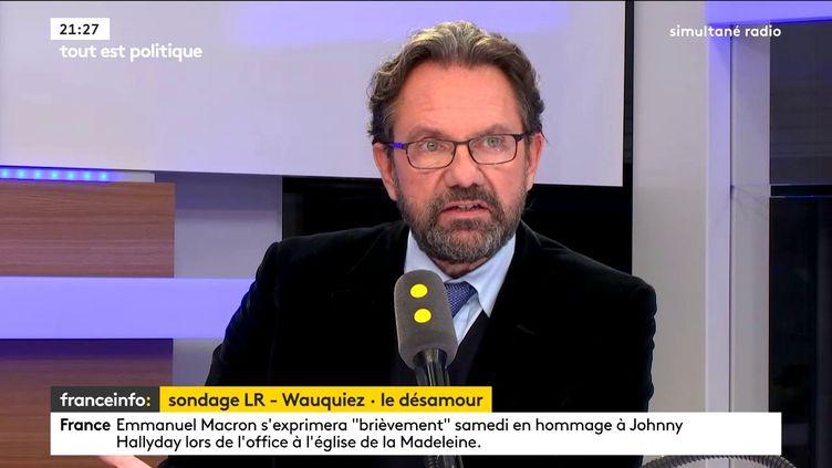 Le député honoraire de la 1e circonscription des Français de l'étranger, co-fondateur du parti Agir, était l'invité de Tout est politique, jeudi 7 décembre sur franceinfo. (FRANCEINFO / RADIO FRANCE)