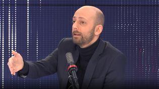 Stanislas Guerini, délégué général de LREM, était l'invité du 8h30 franceinfo dimanche 14 février 2021. (CAPTURE ECRAN / FRANCEINFO)