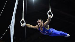 Samir Aït Saïd, lors des championnats d'Europe de gymnastique artistique à Stuttgart, le 12 octobre 2019. (THOMAS KIENZLE / AFP)