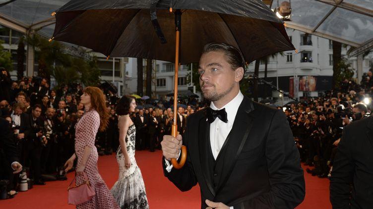 L'acteur américain Leonardo DiCaprio n'a pu éviter le parapluie pour lapremière montée des marches à Cannes, le 15 mai 2013. Festival pluvieux, festival heureux ? (ANNE-CHRISTINE POUJOULAT / AFP)