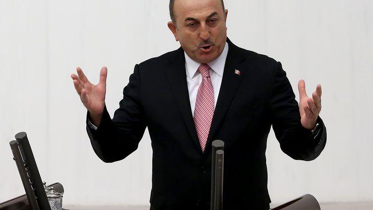 Le ministre turc des Affaires étrangèresMevlut Cavusoglu, le 16 octobre 2019, à Ankara. (ADEM ALTAN / AFP)