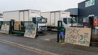 Des salariés deMoryGlobal en grève, le 24 mars 2015, àSaint-Laurent-Blangy (Pas-de-Calais). (MAXPPP)
