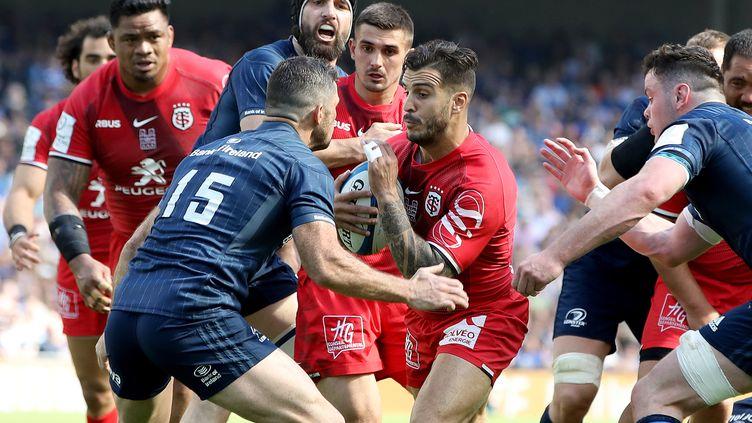 LeStade toulousain joue face au Leinster en Coupe d'Europe de rugby, à Dublin le 21 avril 2019. (PAUL FAITH / AFP)