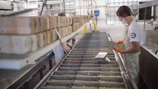 Du fromage est fabriqué à Theresa (Etats-Unis), le 27 juin 2017. (SCOTT OLSON / GETTY IMAGES NORTH AMERICA / AFP)