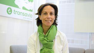 Nathalie Stubler est la présidente directrice générale de Transavia France. (ERIC PIERMONT / AFP)