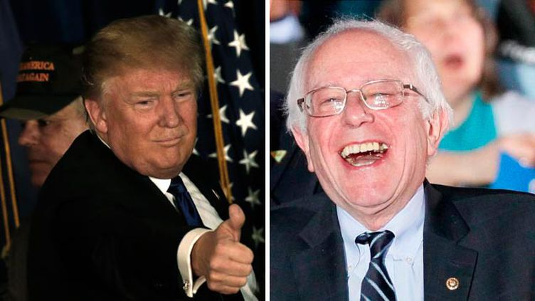 (Donald Trump et Bernie Sanders après leur victoire © REUTERS / Mike Segar -Rick Wilking)