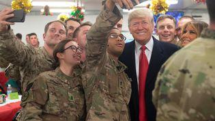Donald Trump en visite en Irak auprès des soldats américains, le 26 décembre 2018. (SAUL LOEB / AFP)