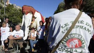 Manifestation des Fralib,l'usine de thés et d'infusions de Gémemos, à Marseille (Bouches-du-Rhône) le 3 octobre 2012. (BORIS HORVAT / AFP)