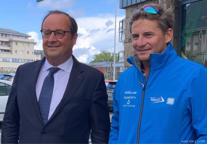 François Hollande et Thibaut Vauchel-Camus une fois revenus à terre