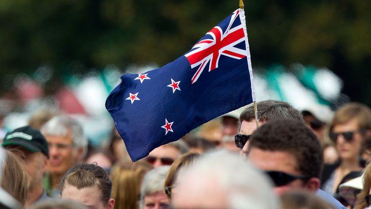 Un drapeau néo-zélandais lors d'un rassemblement à Christchurch, le 22 février 2012. (MARTY MELVILLE / AFP)