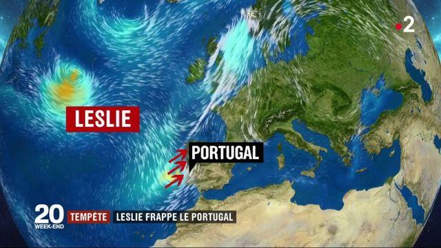 La tempête Leslie a frappé le Portugal
