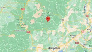 Capture d'écran de la localisation de la commune des Plantiers, dans le Gard. (DR)