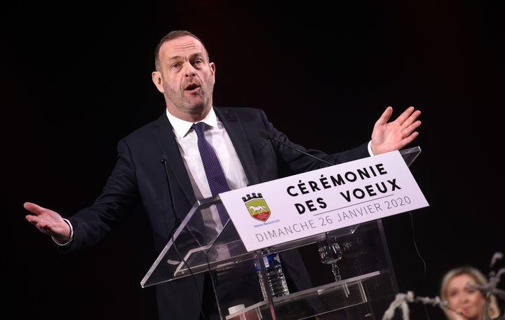 Steeve Briois adresse ses voeux aux habitants d'Hénin-Beaumont, le 26 janvier 2020, àHénin-Beaumont (Pas-de-Calais). (FRANCOIS LO PRESTI / AFP)