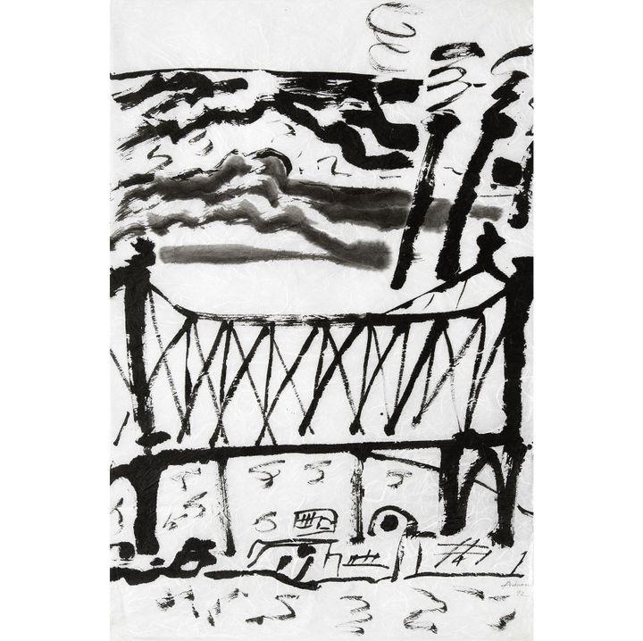 """Etel Adnan, """"Sans titre"""", 1992, encre de Chine sur papier Japon  (Etel Adnan, courtesy Galerie Lelong)"""
