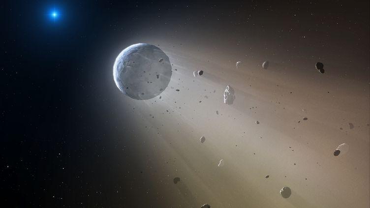 Illustration d'un corps céleste se désintégrant à l'approche d'une naine blanche. (MARK A. GARLICK / NASA)