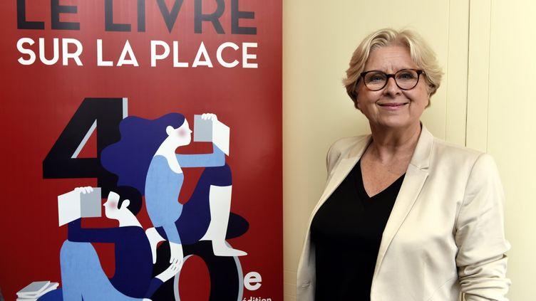 Françoise Rossinot, la commissaire générale du salon du livre de Nancy, lors de la conférence de presse de présentation du salonqui lance la rentrée littéraire et aura lieu du 7 au 9 septembre. (ALEXANDRE MARCHI / MAXPPP)