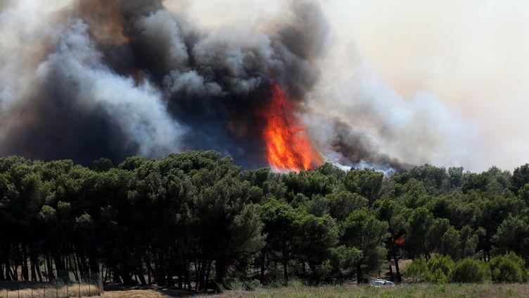 Incendie à Port-de-Bouc (Bouches-du-Rhône) le 4 août 2020. (SERGE GUEROULT / MAXPPP)