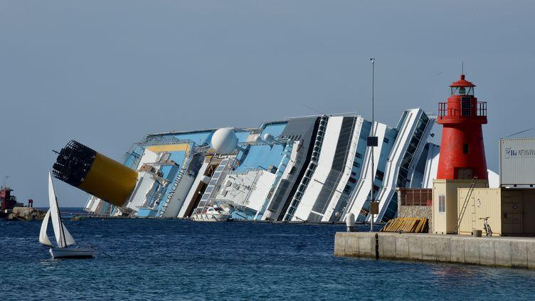 L'épave du Costa Concordia, le 25 juin 2012 au large l'île du Giglio (Italie). (VINCENZO PINTO / AFP)