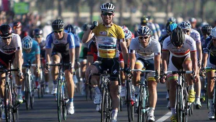 La joie du Britannique Mark Cavendish vainqueur du Tour du Qatar