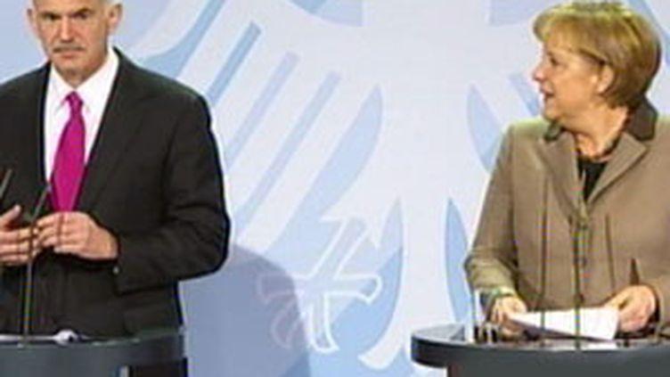 Rencontre à Berlin entre le Grec Georges Papandréou et l'Allemande Angela Merkel (05/03/10) (France 3)