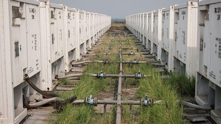 La nature reprend ses droits sur un site de tests d'exploitation du pétrole, sur les rives du lac Albert, en Ouganda. En ce 24 janvier 2020, aucune goutte de pétrole n'a encore été produite, 14 ans après la découverte du gisement. (YASUYOSHI CHIBA / AFP)