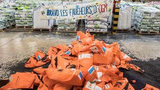 Des sacs de semences sont éventrésdansles locaux d'une coopérative de Castelnaudary (Aude), le 4 mars 2021. (FRED SCHEIBER / AFP)