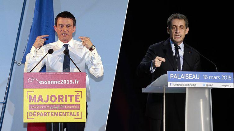 Le Premier ministre, Manuel Valls (à gauche), en meeting à Evry et le président de l'UMP, Nicolas Sarkozy, en meeting à Palaiseau (Essonne), le 16 mars 2015. (JACQUES DEMARTHON, THOMAS SAMSON / AFP / FRANCETV INFO)