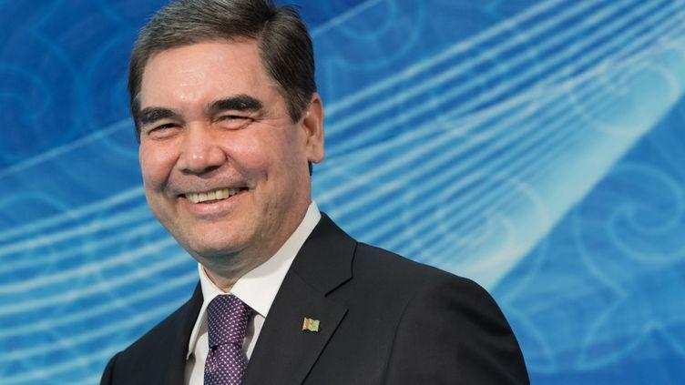 Le président du TurkménistanGourbangouly Berdymoukhamedovlors d'une réunion des chefs d'Etat, pendant lesommet de la Caspienne à Aktau, au Kazakhstan, le 12août 2018. (SERGEY GUNEEV / SPUTNIK / AFP)