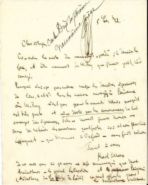 """Lettre manuscrite de Karl Marx au """"Cher Citoyen"""" (Maurice Lachâtre) de 1872, vendue 153.000 euros (frais inclus).  (Ader Nordmann)"""