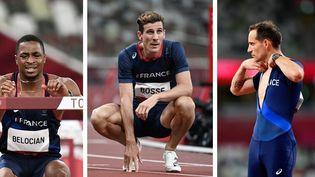 Wilhem Belocian (blessé), Pierre-Ambroise Bosse et Renaud Lavillenie (blessé) n'ont pas pu décrocher de médaille à Tokyo. (AFP)