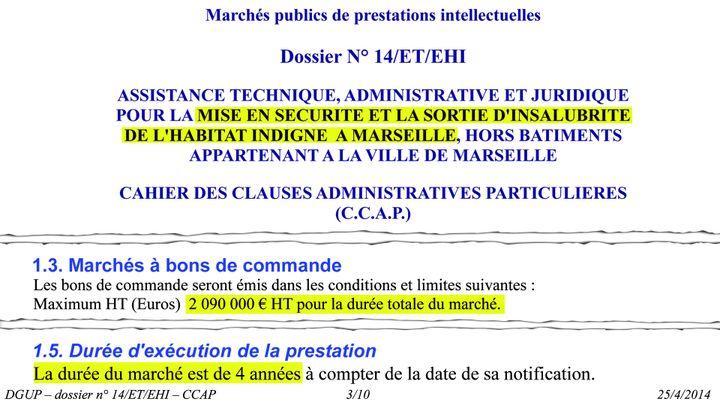 Extraits du marché public de prestations intellectuelles n°14/ET/EHI émis par la ville de Marseille le 25 avril 2014. (DR)