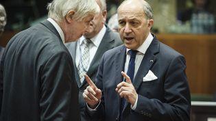 Le 3 mars 2014, le ministre des Affaires étrangères, Laurent Fabius, a la réunion des ministres à Bruxelles (WIKTOR DABKOWSKI / AFP)