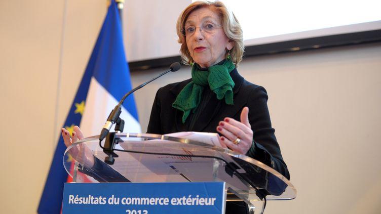 La ministre du Commerce extérieur, Nicole Bricq, présente les résultats des exportations et des importations françaises en 2013, à Bercy, le 7 février 2014. (ERIC PIERMONT / AFP)