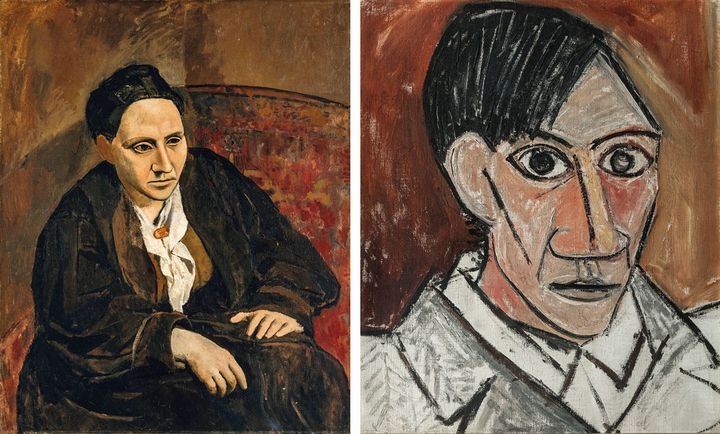 "Pablo Picasso, ""Portrait de Gertrude Stein"", 1905-1906, The Metropolitant Museum of Art, New York, et ""Autoportrait"", 1907, Nàrodni Galerie, Prague  (A gauche © The Metropolitan Museum of Art, Dist RMN-Grand Palais / image of the MMA © Succession Picasso 2018 - A droite © The National Gallery, Prague, 2018 © Succession Picasso 2018)"