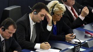 Les députés européens du FN lors du discours de Sa Sainteté le Pape François devant le Parlement Européen de Strasbourg,la 25 novembre 2014 (MAXPPP)