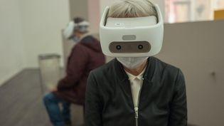 """Réalité virtuelle à l'exposition """"Pompéi"""" au Grand Palais, le 5 octobre 2020 (QUEMENER YVES-MARIE / PHOTOPQR / OUEST FRANCE / MAXPPP)"""