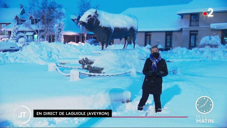 Laguiole sous la neige, dans l'Aveyron. (France 2)