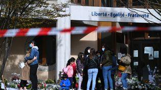 Le collège deBois-d'Aulne à Conflans-Sainte-Honorine(Yvelines) où enseignait Samuel paty, le 19 octobre 2020. (ANNE-CHRISTINE POUJOULAT / AFP)