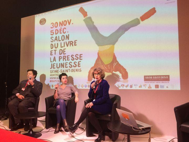 Joseph Jacquet, France Télévisions, Véronique Ovaldé et Sylvie Vassallo, remise des Pépites au Salon du livre et de la presse jeunesse à Montreuil, 30 novembre 2016  (laurence Houot / Culturebox)