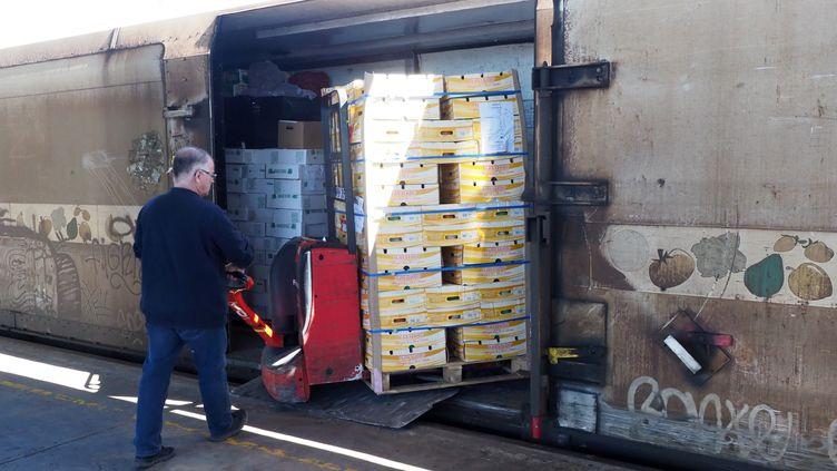 Un employé charge des légumes un wagon du train de Rungis en gare de Perpignan (Pyrénées-Orientales), le 14 mai 2019? (RAYMOND ROIG / AFP)